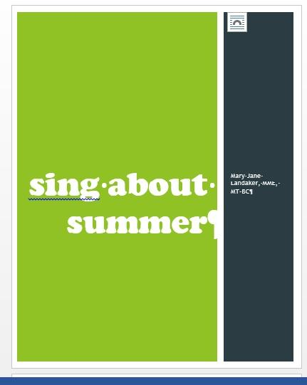 sing about summer theme packet 1 title page